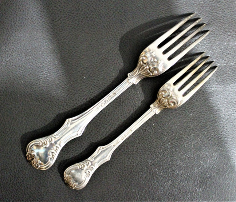 George Adams Antique Victorian English Sterling Silver Flatware Set   For Sale 2