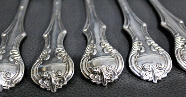 George Adams Antique Victorian English Sterling Silver Flatware Set   For Sale 3