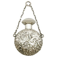 Antique Victorian English Sterling Silver Scent Flask