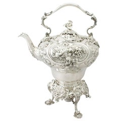 Antique Victorian English Sterling Silver Spirit Kettle, 1854