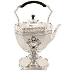 Antique Victorian English Sterling Silver Spirit Kettle