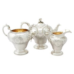 Antique Victorian English Sterling Silver Three-Piece Tea Service