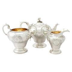 Antique Victorian English Sterling Silver Three-Piece Tea Service
