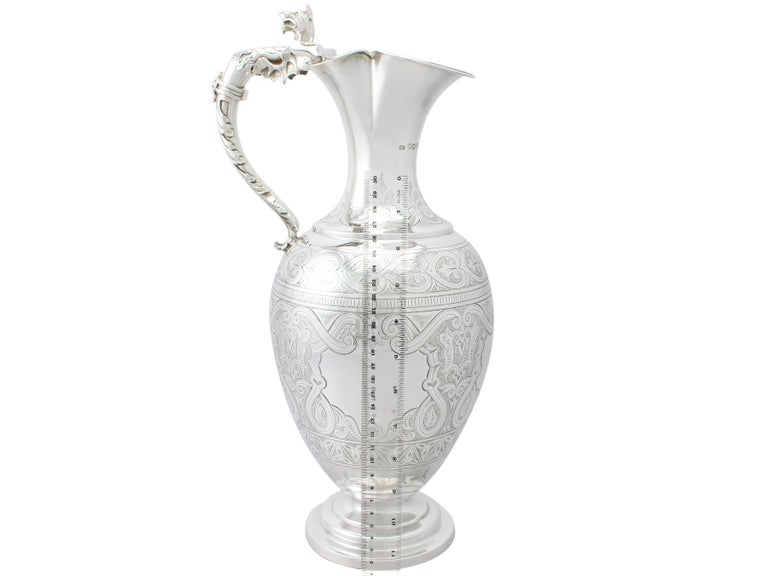 Antique Victorian English Sterling Silver Wine Ewer For Sale 8