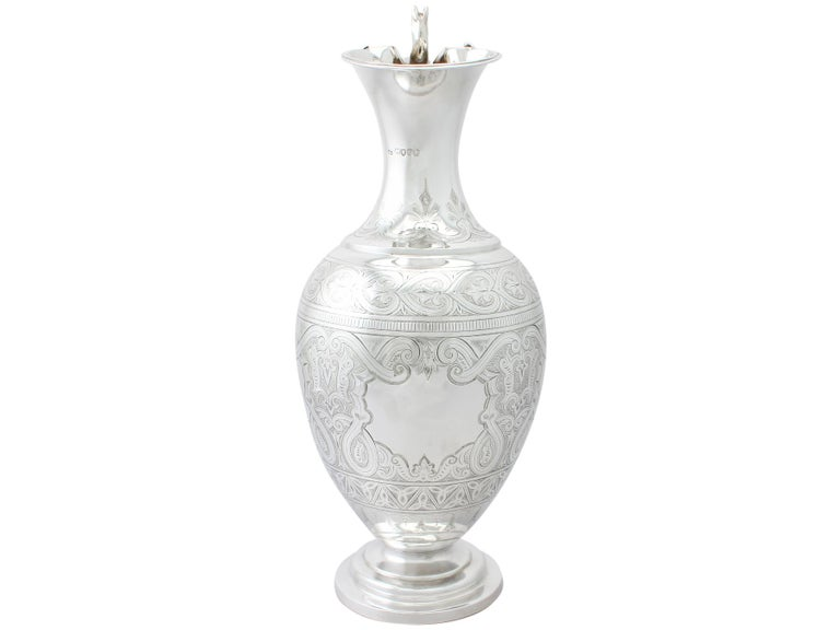 Antique Victorian English Sterling Silver Wine Ewer In Excellent Condition For Sale In Jesmond, Newcastle Upon Tyne