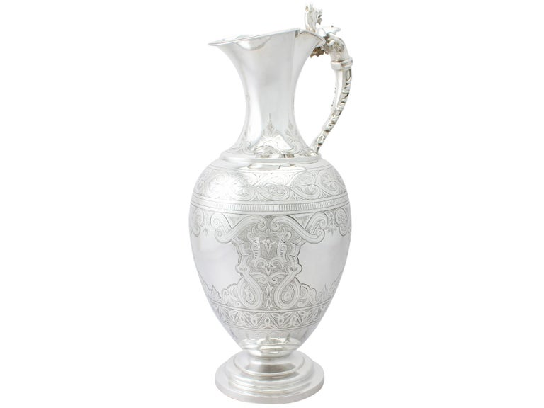 Late 19th Century Antique Victorian English Sterling Silver Wine Ewer For Sale