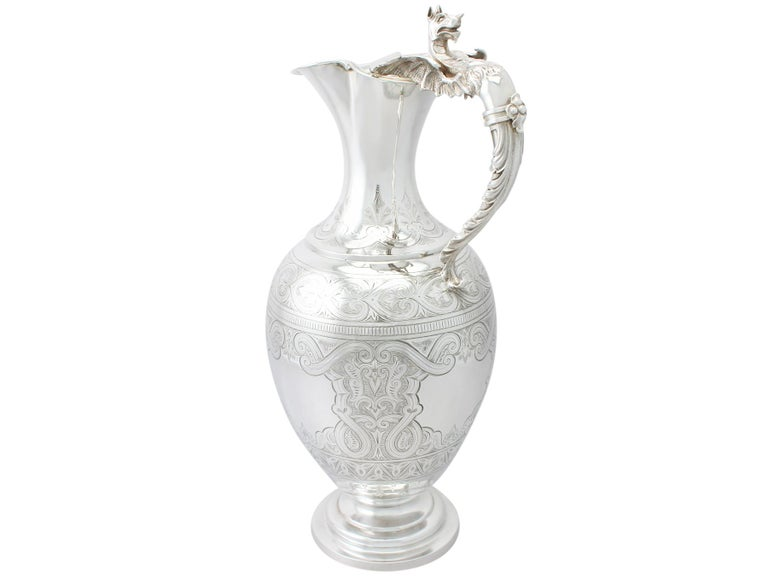 Antique Victorian English Sterling Silver Wine Ewer For Sale 1
