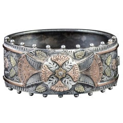 Antique Victorian Engraved Floral Silver Gold Bracelet, circa 1900 Bangle