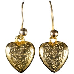 Antique Victorian Engraved Heart Earrings 9 Carat Gold, circa 1900