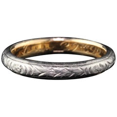 Antique Victorian Engraved Platinum and 18 Karat Yellow Gold Wedding Band