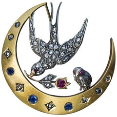 Antique Victorian Era Jewelled Crescent Brooch Pin