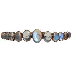 Antique Victorian Era Moonstone 9 Karat Gold Bracelet