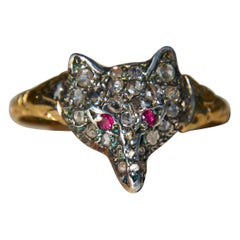 Antique Victorian Era Rosecut Diamond Ruby Fox 15 Karat Gold Ring