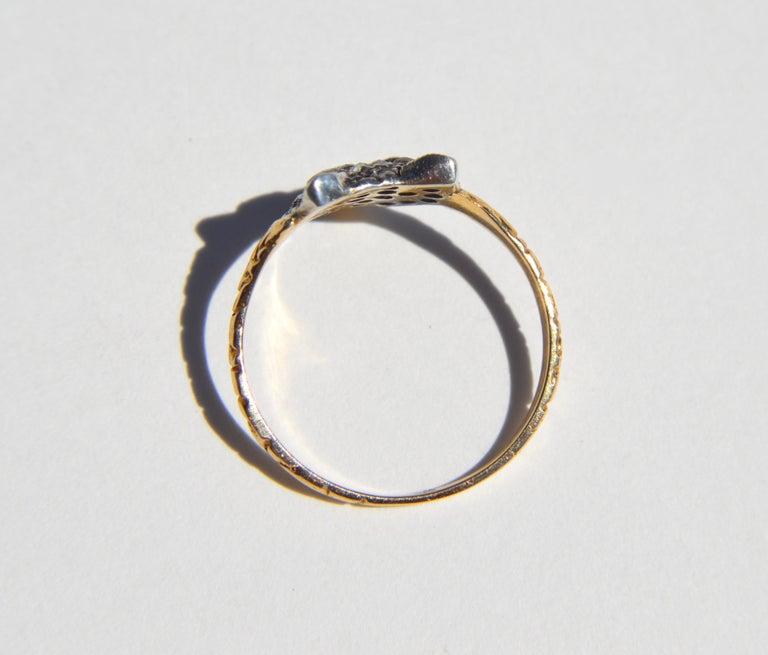 Women's Antique Victorian Era Rosecut Diamond Ruby Fox 18 Karat Gold Ring For Sale