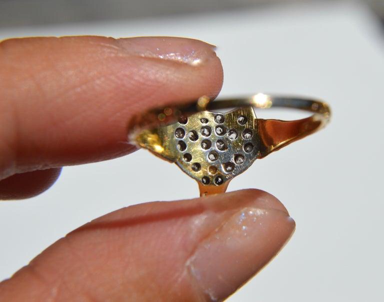 Antique Victorian Era Rosecut Diamond Ruby Fox 18 Karat Gold Ring For Sale 1