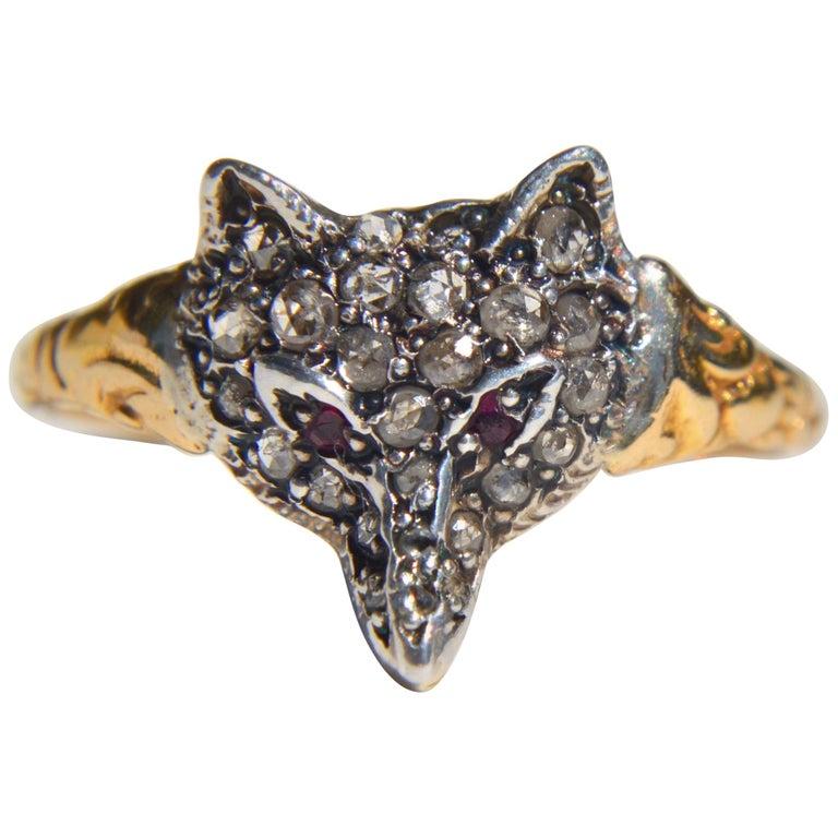 Antique Victorian Era Rosecut Diamond Ruby Fox 18 Karat Gold Ring For Sale