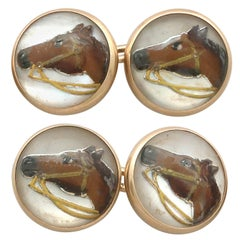 Antique Victorian Essex Crystal and Yellow Gold Horse Cufflinks