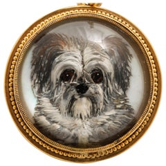 Antique Victorian Essex Crystal Terrier Pendant