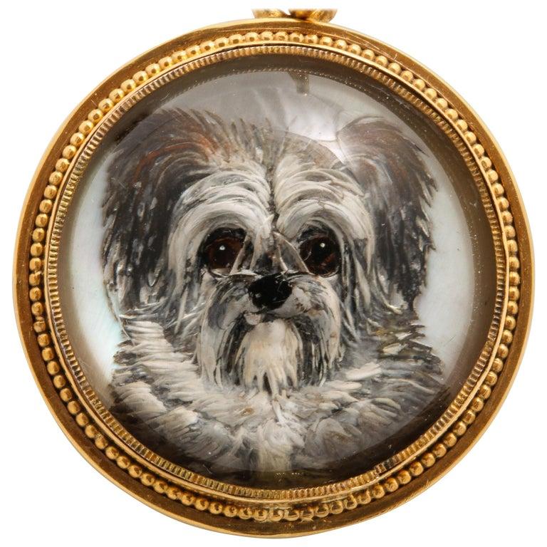 Antique Victorian Essex Crystal Terrier Pendant For Sale