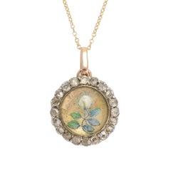 "Antique Victorian Essex Crystal ""White Rose"" Round Locket Pendant"