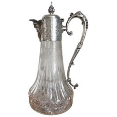 Antique Victorian Etched Glass and Silver Plated Claret Jug