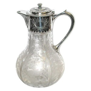 Antique Victorian Etched Glass and Silver Plated Claret Jug, Elkington & Co.