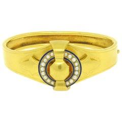 Antique Victorian Etruscan 18K Gold Natural Pearl w/ Enamel Open Bangle Bracelet