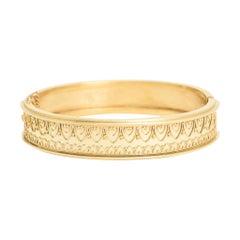 Antique Victorian Etruscan Revival 15 Karat Gold Bangle