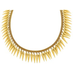 Antique Victorian Etruscan Revival 18 Karat Gold Dart Fringe Necklace