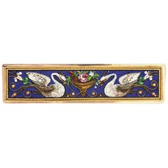 Antique, Victorian Etruscan Revival 1880s Micro Mosaic Gold Swan Brooch/Tie Pin