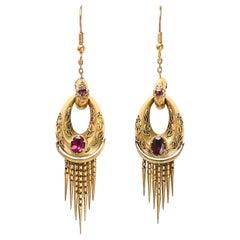 Antique Victorian Etruscan Revival Almandine Garnet Hoop Earrings