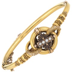 Antique Victorian Etruscan Revival Bracelet 14 Karat Gold Seed Pearl Vintage