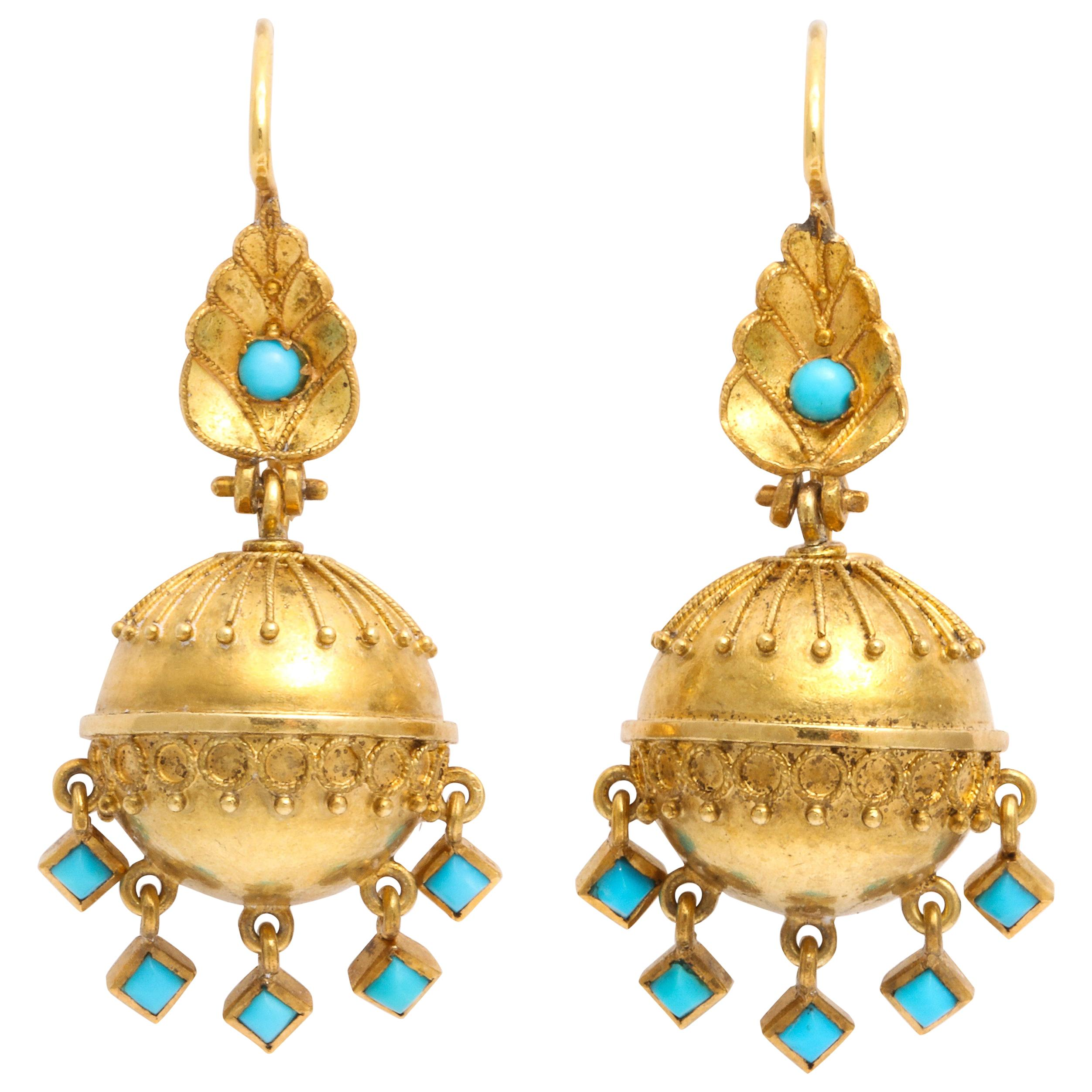 Antique Victorian Etruscan Revival Drop Earrings