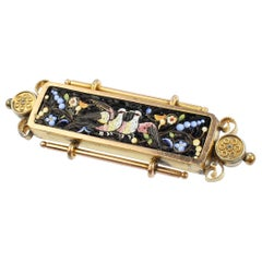 Antique Victorian Etruscan Revival Gold Filled Micromosaic Brooch with Doves