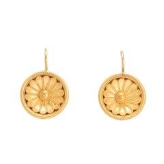 Antique Victorian Etruscan Revival Gold Flower Earrings