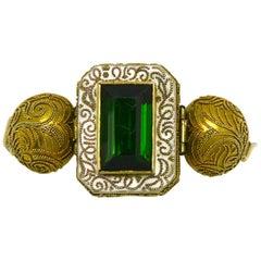 Antique Victorian Etruscan Revival Green Tourmaline Enamel Gold Bracelet 23 Ct