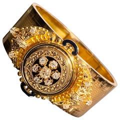 Antique Victorian Etruscan Revival Old Diamond Enamel Bangle Bracelet Rose Gold