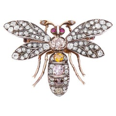 Antique Victorian Fancy Colour Diamond and Ruby Bee Brooch