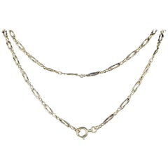 Antique Victorian Fancy French Guard Chain 18 Carat Silver, circa 1900