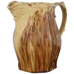 Antique Victorian Figural Majolica Pitcher Carafe Face Spout Brown Drip Glaze
