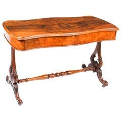 Antique Victorian Figured Walnut Writing Table Desk Sofa Table 19th C