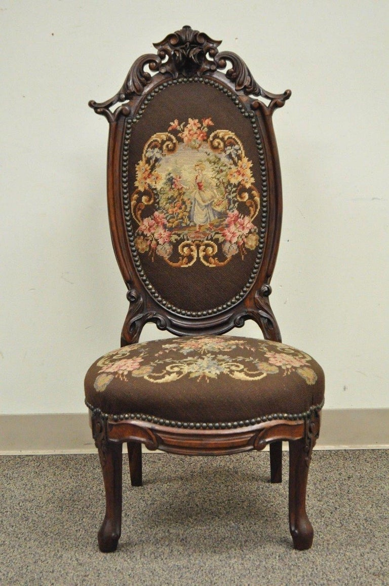 Antique Victorian Finely Carved Rosewood Needlepoint Prie