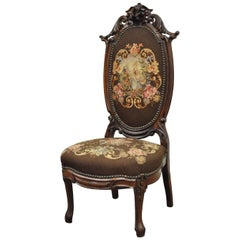 Antique Victorian Finely Carved Rosewood Needlepoint Prie Dieu Accent Side Chair
