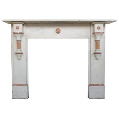 Antique Victorian Fireplace Surround in Lightly Grained White Carrara Marble