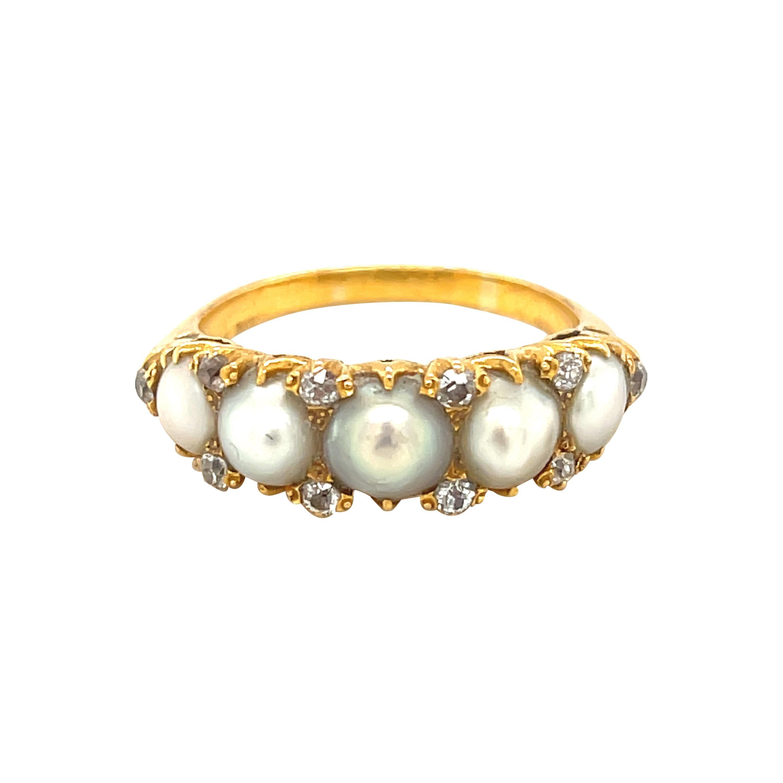 Antique Victorian Five Pearl Diamond Half Hoop Ring