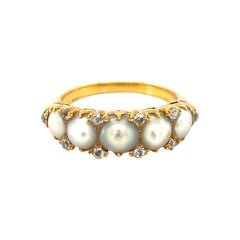 Antique Victorian Five Pearl Diamond Half Hoop Ring