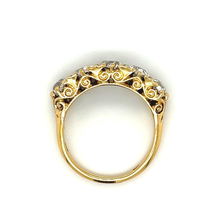 Old Mine Cut Antique Victorian Five Stone Diamond 18 Karat Gold Half Hoop Ring For Sale
