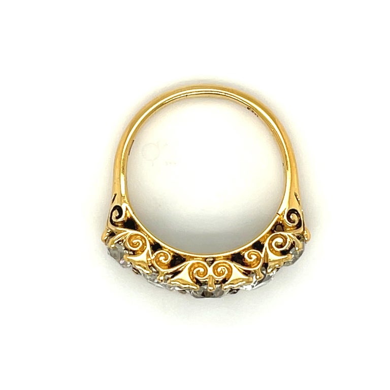 Antique Victorian Five Stone Diamond 18 Karat Gold Half Hoop Ring In Good Condition For Sale In New York, NY