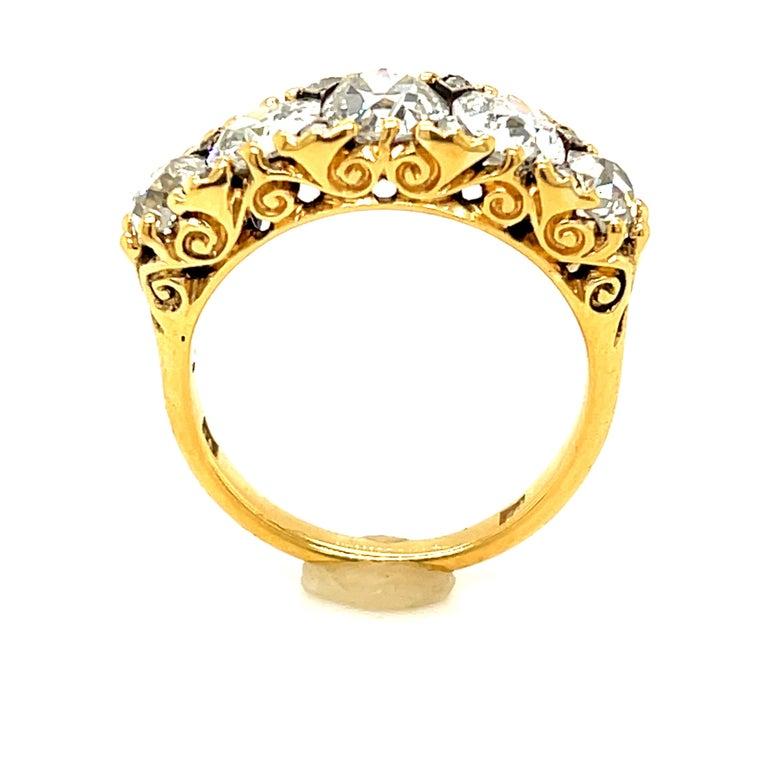 Women's or Men's Antique Victorian Five Stone Diamond 18 Karat Gold Half Hoop Ring For Sale