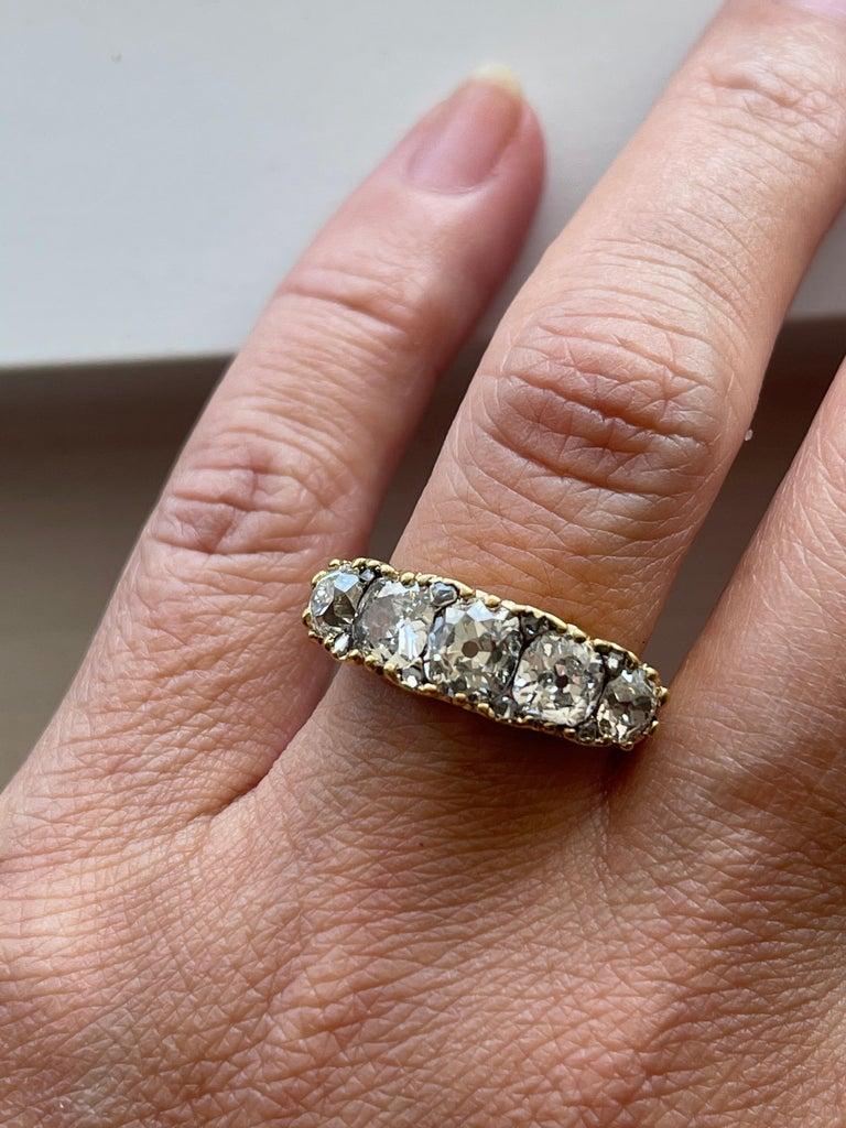 Antique Victorian Five Stone Diamond 18 Karat Gold Half Hoop Ring For Sale 1